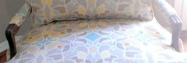Before & After:  Chair Re-upholstered in Ikat Taupe Pattern
