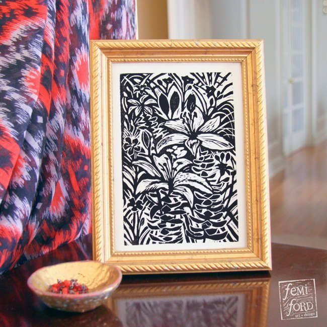 """Havana Lilies"" Linocut wall art print by Femi Ford Art + Design"