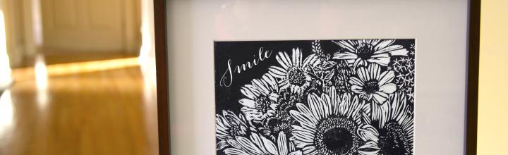 Floral Linocut Wall Art