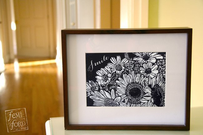 """Sunflowers Smile"" linocut wall art print by Femi Ford Art + Design"
